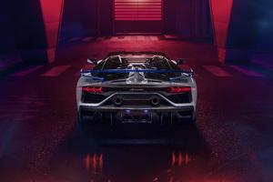 Lamborghini Aventador SVJ Roadster Xago Edition Rear View Wallpaper