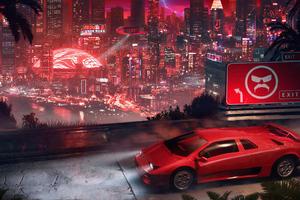 Lamborghini City Cyberpunk 4k