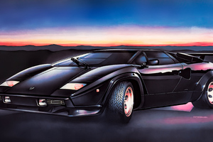 Lamborghini Countach 5000 Painting Art 4k Wallpaper