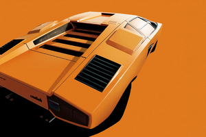 Lamborghini Countach Digital Art 5k