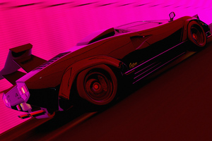 Lamborghini Countach In The Light Tunnel 4k Wallpaper