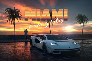Lamborghini Countach Miami Vibes Wallpaper