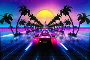 Lamborghini Countach Outrun Retrowave