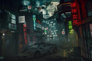 Lamborghini Cyperpunk Scifi Neon Lights