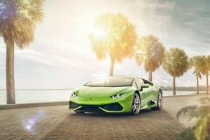 Lamborghini Huracan Miami By Night Wallpaper