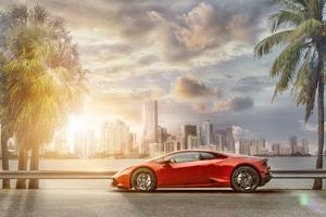 Lamborghini Huracan Miami Skyline