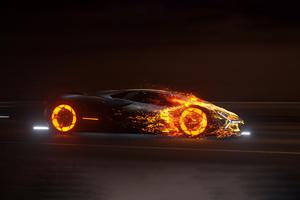 Lamborghini In Flames 5k Wallpaper