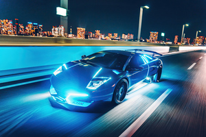 Lamborghini Murcielago Neon Lights 4k Wallpaper