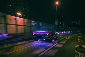 Lamborghini Neon Lights On Road 4k Wallpaper