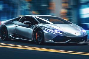 Lamborghini On City Road Wallpaper