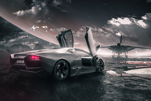 Lamborghini Reventon With Jet Wallpaper