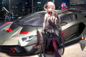 Lamborghini Rider Anime Girl 4k Wallpaper