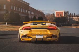 Lamborghini Yellow Rear 4k Wallpaper