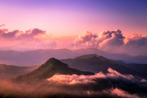 Landscape Clouds Peak 5k Wallpaper