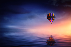 Landscape Hot Air Balloon Wallpaper