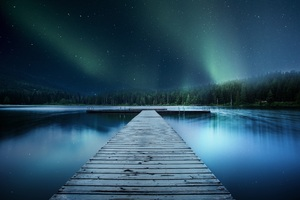 Landscape Jetty Lake Night Sky 8k Wallpaper