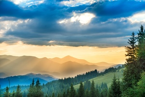 Landscape Mountains Sunbeam Nature 5k