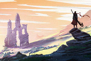 Landscape Ruin Warrior Artwork Wallpaper