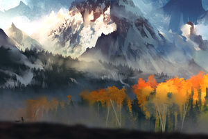 Landscape Scenery Moutain Autumn Digital Art 5k