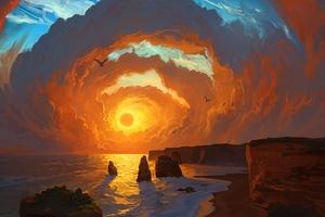 Landscape Sea Sunset Clouds