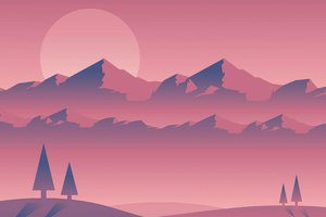 Landscape Sunset Minimal 4k Wallpaper