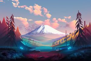 Landscape Trees Mountains Clouds Digital Art Wallpaper