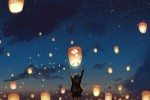 Lantern Night Clouds Lights Anime Stars Wallpaper