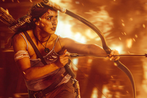 Lara Croft Crimson Fire Wallpaper