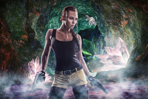 Lara Croft Crystal Cave Wallpaper