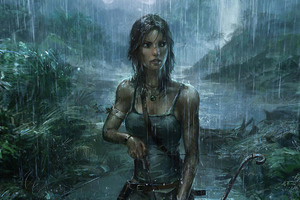 Lara Croft Tomb Raider Rain Weather 4k Wallpaper