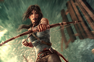 Lara Croft With Bow And Arrow Wallpaper