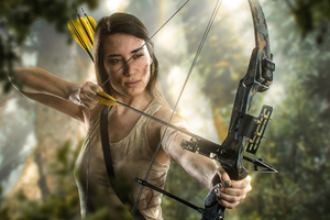 Lara Croft With Bow And Arrrow Cosplay 4k Wallpaper