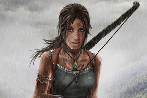 Lara Croft With Gun Wallpaper