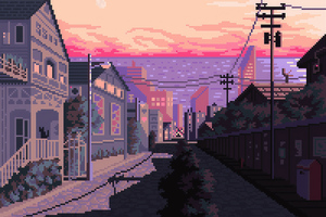 Late Afternoon Pixel Art Wallpaper