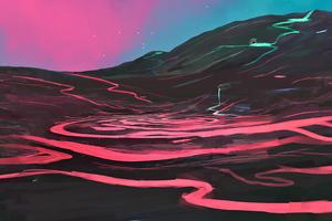 Lava Mountain Digital Art 4k