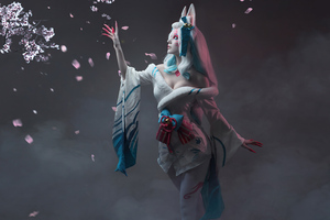 League Of Legends Spirit Blossom Ahri Cospay 5k Wallpaper