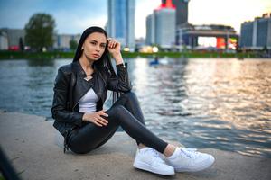 Leather Clothing Girl Long Black Hair 4k Wallpaper