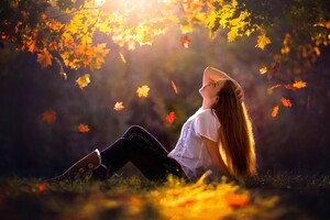 Leaves Sunlight Women Outdoors Wallpaper