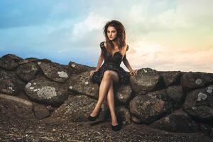 Legs Crossed Girl Sitting Rock Bench Wallpaper