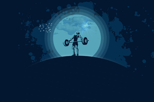 Lifter Silhouette Moonlight Vector Illustration