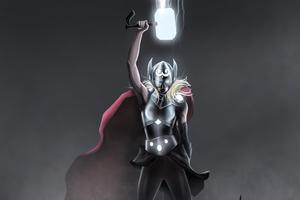 Lifting Mjolnir Jane Foster Wallpaper