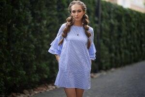 Light Blue Dress Model Outdoors