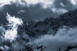 Light Clouds Mountains Snow 5k Wallpaper