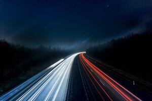 Light Trails Highway 5k Wallpaper