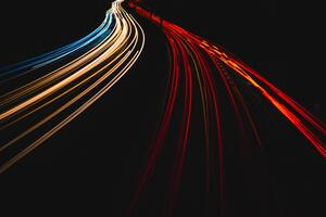 Light Trails On A German Autobahn 5k Wallpaper