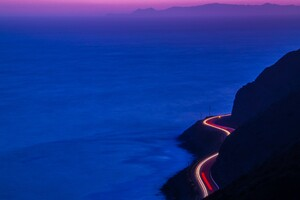 Light Trails Road Mountains Wallpaper