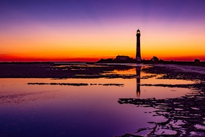 Lighthouse Colorful Sunrise 4k