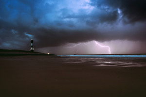 Lighthouse Lightning Sea Ocean Beach Weather 5k Wallpaper
