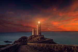 Lighthouse Sunset Scene