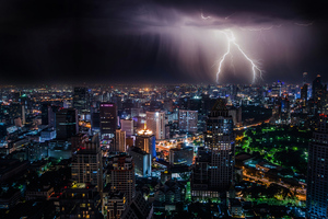 Lightning Storm At Night Bangkok 4k Wallpaper